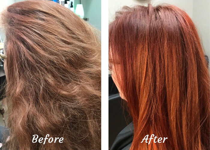 Henna Color Treatment Before and After